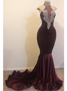 2021 New Arrival High Neck Grape Beaded Mermaid Prom Dresses
