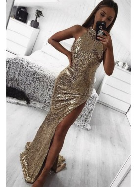 2021 New Arrival Pleated Sheath Side Slit Gold High Neck Sequence Prom Dresses