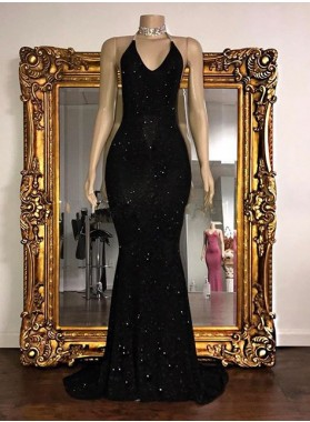 Sexy 2021 Black Halter Mermaid Sequence Backless Prom Dresses