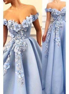 Cheap A Line Satin Blue Sweetheart Floral Patterns Long Prom Dresses 2021