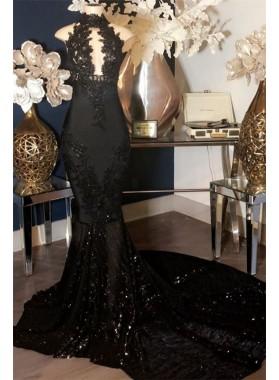 2021 Designer Black Mermaid High Neck Sequence Open Front Long Prom Dresses