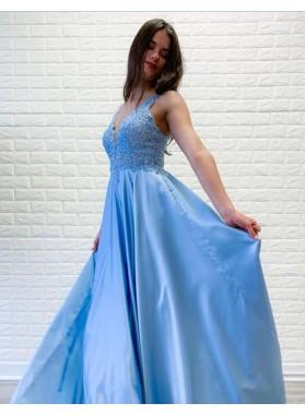 Cheap 2021 A Line Blue Elastic Satin Lace V Neck Prom Dresses