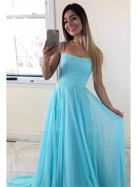 2021 Cheap A Line Blue Chiffon Backless Lace Up Prom Dresses