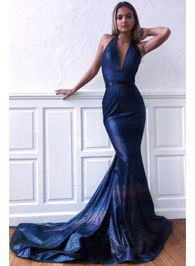 2021 Sexy Mermaid V Neck Dark Navy Backless Long Prom Dresses