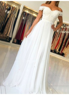 New Arrival A Line White Sweetheart Off Shoulder Chiffon Appliques Prom Dresses 2021