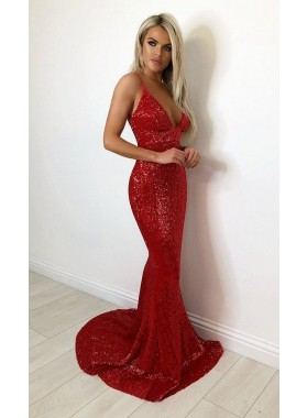 2021 Sexy Mermaid Red V Neck Backless Sequence Prom Dresses