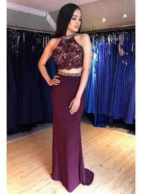 Charming Sheath Grape Beaded Two Pieces Lace Prom Dresses 2021