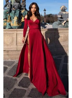 Cheap A Line Side Slit Sweetheart Long Sleeves Burgundy Prom Dresses 2021