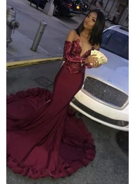 Alluring Mermaid Burgundy Sweetheart Off Shoulder Long Sleeves Prom Dresses 2021