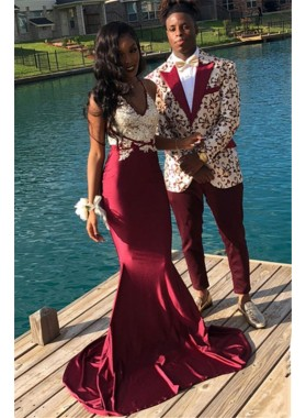 2021 New Arrival Mermaid Burgundy With White Lace Halter Prom Dresses