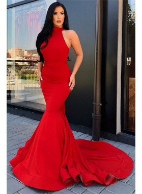 Charming Red Satin Mermaid High Neck Backless Prom Dresses 2021
