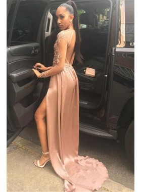 Cheap A Line Satin Dusty Rose Long Sleeves Side Slit Lace Prom Dresses 2021