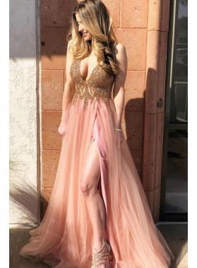 Charming A Line Tulle Peach V Neck Beaded Prom Dresses 2021