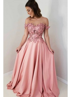 Cheap A Line Satin Off Shoulder Sweetheart Pink Floral Patterns Prom Dresses 2021