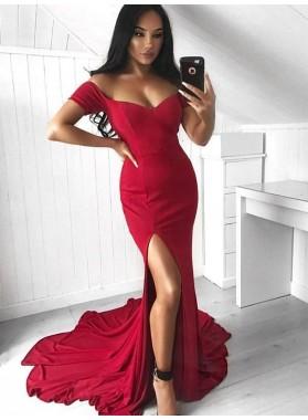 Charming Red Off Shoulder Sweetheart Side Slit Sheath Long Prom Dresses 2020