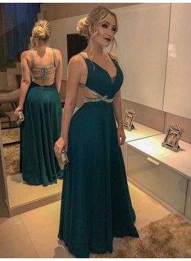 2021 Cheap A Line Teal Floor Length Beaded Sweetheart Prom Dresses