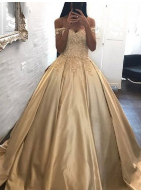2021 Elegant Sweetheart Off Shoulder Satin Ball Gown Champagne Prom Dresses
