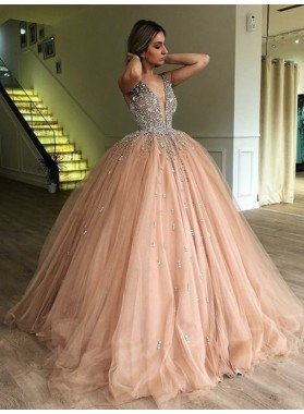 Charming Tulle V Neck Beaded Dusty Rose Ball Gown 2021 Prom Dresses