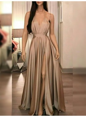 2021 Cheap A Line Side Slit V Neck Pleated Backless Champagne Prom Dresses