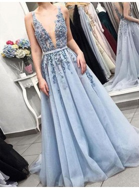 2021 Cheap A Line Blue Tulle V Neck Beaded Backless Prom Dresses