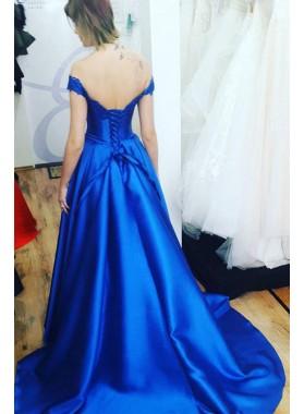 Elegant A Line Satin Royal Blue Off Shoulder Lace Up Back Long Prom Dresses 2020
