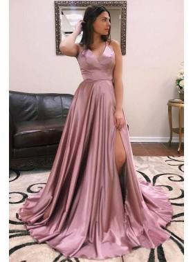 2020 Cheap A Line V Neck Elastic Satin Dusty Rose Side Slit Prom Dresses