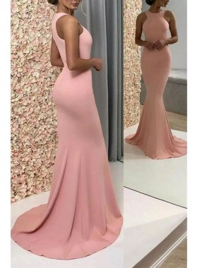 Sexy Mermaid Pink Satin Scoop Sleeveless Prom Dresses 2021