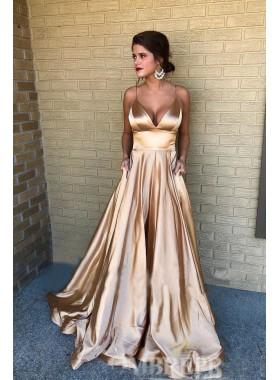 Amazing A Line Sweetheart Spaghetti Straps Elastic Satin Champagne Prom Dresses 2021