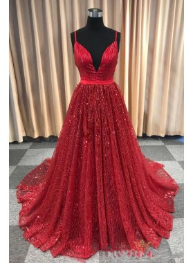 2021 New Arrival A Line Red V Neck Lace Prom Dresses