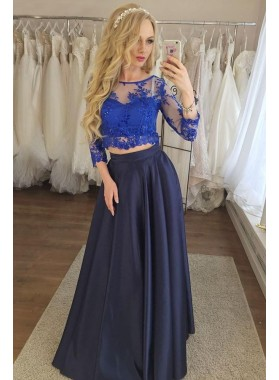 2020 New Arrival Satin A Line Dark Navy Royal Blue Two Pieces Lace Prom Dresses