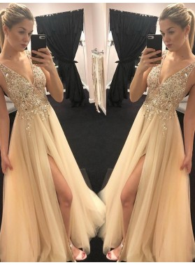 2020 New Arrival A Line Champagne Side Slit V Neck Beaded Prom Dresses