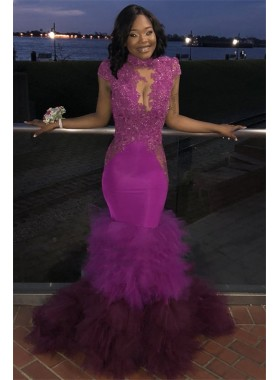 2020 Sexy Lilac Mermaid High Neck Tulle Open Front Layered Backless Prom Dresses