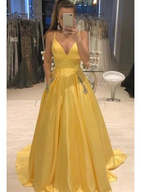 Elegant A Line Satin Sweetheart Daffodil Beaded Prom Dresses With Pockets 2020