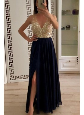 Cheap A Line Chiffon Side Slit Beaded V Neck Prom Dresses 2020