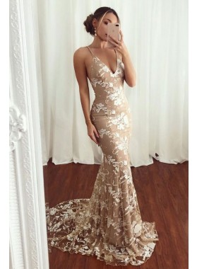2021 Charming Champagne V Neck Lace Backless Lace Up Prom Dresses