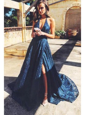 Cheap A Line V Neck Side Slit Lace Royal Blue Lace Prom Dresses 2020