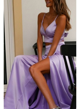 2020 New Arrival A Line Sweetheart Lilac Side Slit Bowknot Back Prom Dresses