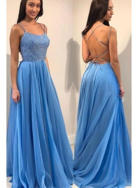 New Arrival A Line Chiffon Blue Beaded Lace Up Back Long Prom Dresses 2020