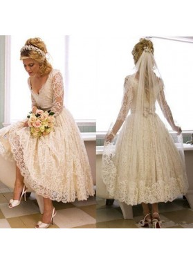 Long Sleeves V Neck Lace Tea Length Short Wedding Dresses 2020