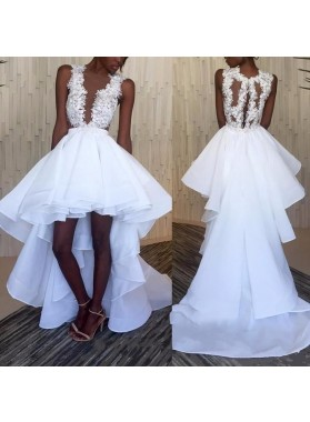 A Line White High Low Tulle Organza Appliques Short Wedding Dresses 2020