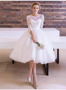 2020 A Line Long Sleeves Lace Tea Length Short Beach Wedding Dresses