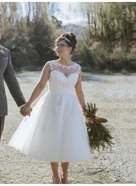 2020 A Line Tulle With Appliques Tea Length Short Plus Size Wedding Dresses
