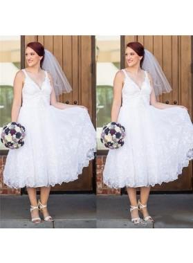 A Line Tea Length Lace Sweetheart Short Beach Wedding Dresses 2020