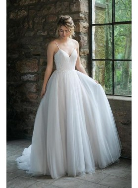 2021 A Line Tulle Ivory Sweetheart Tulle Pleated Spaghetti Straps Wedding Dresses