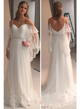 2021 A Line Tulle Sweetheart Straps With Appliques Bell Sleeves Beach Wedding Dresses