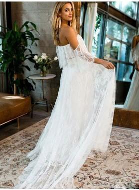 A Line Lace Off Shoulder Long Beach Wedding Dresses