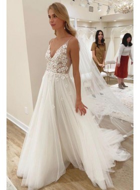 2020 A Line V Neck Tulle With Floral Patterns Beach Wedding Dresses