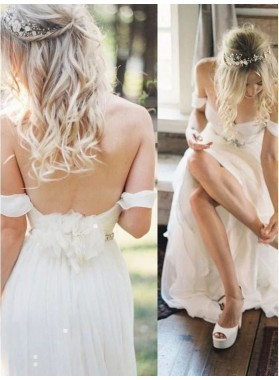2020 A Line Chiffon Sweetheart Beaded Sash Beach Wedding Dresses