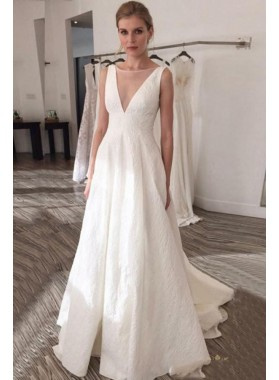 2020 A Line Bateau Satin Backless Beach Wedding Dresses