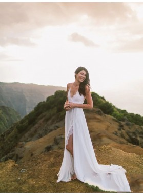 2020 A Line Chiffon Side Slit Lace Halter Backless Beach Wedding Dresses Lace Up